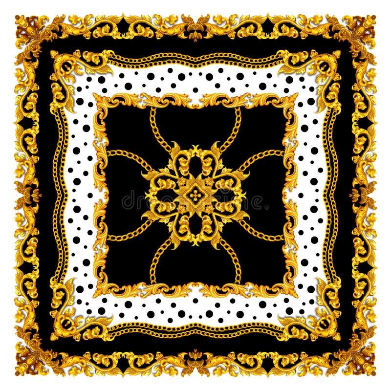 Goldenes Barock Seidenschaden Textile Printing, Scarf Design für Seidendruck Vintage Style Muster bereit für Textilien Square Mod lizenzfreie abbildung
