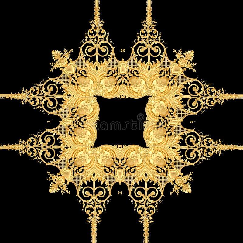 Goldenes barockes Gold und schwarzes weißes Farbschalmuster vektor abbildung