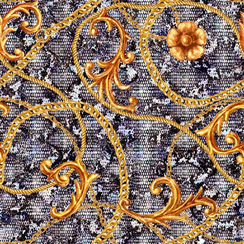Goldenes barockes Kettennahtloses Muster der zauberschlangenhaut Aquarellhandgezogenes Modegold und Tierbeschaffenheit stockfotos