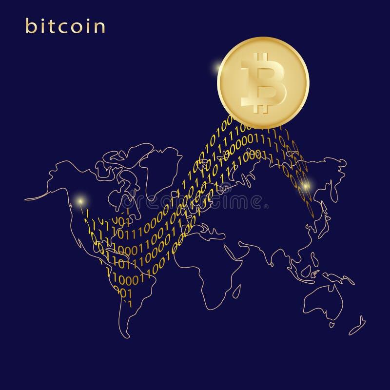 Goldenes bitcoin digitale Währung mit Pfeil und Weltkarte auf Dunkelheit stock abbildung