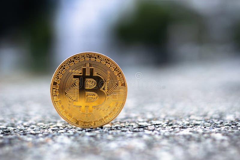 goldenes bitcoin mit Kopienraum stockbilder