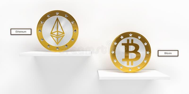Goldenes Bitcoin und Ethereum prägen - Wiedergabe 3D stock abbildung
