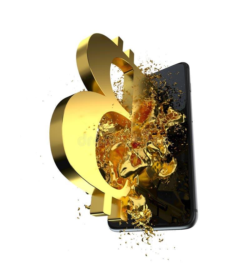 Goldenes Bitcoin Weg eingeschlossen Vervollkommnen Sie für lizenzfreies stockfoto