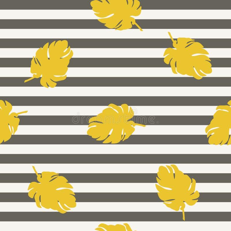 Goldenes Blatt auf nahtlosem Muster des gestreiften Hintergrundes lizenzfreie abbildung