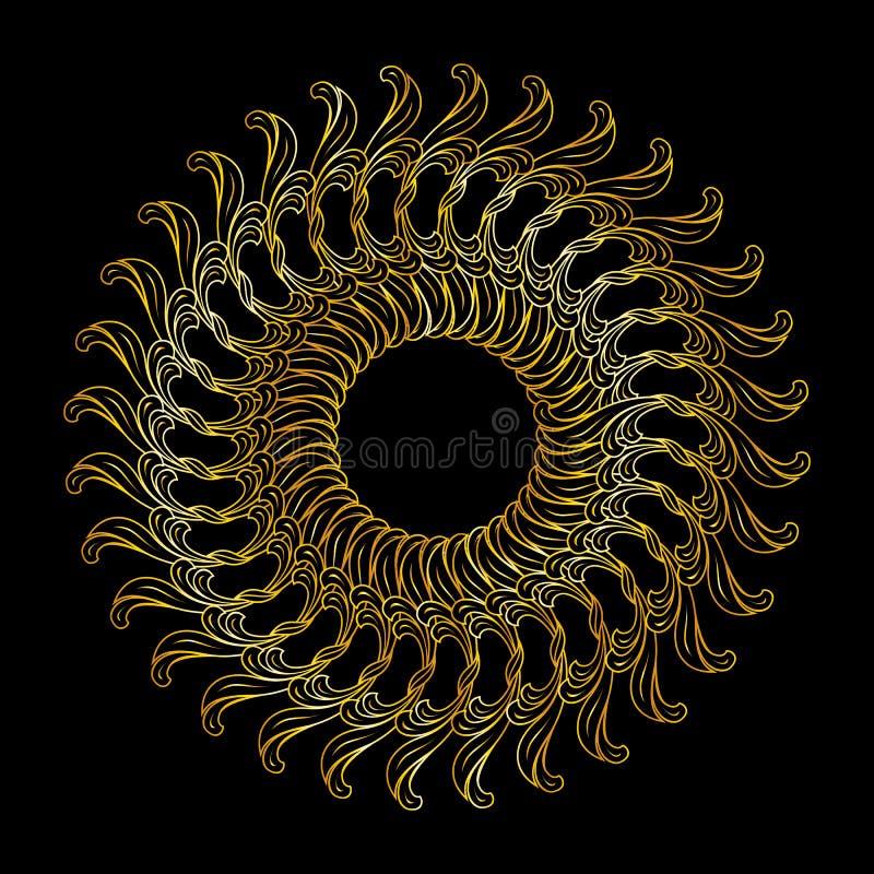 Goldenes Blumenmuster stock abbildung