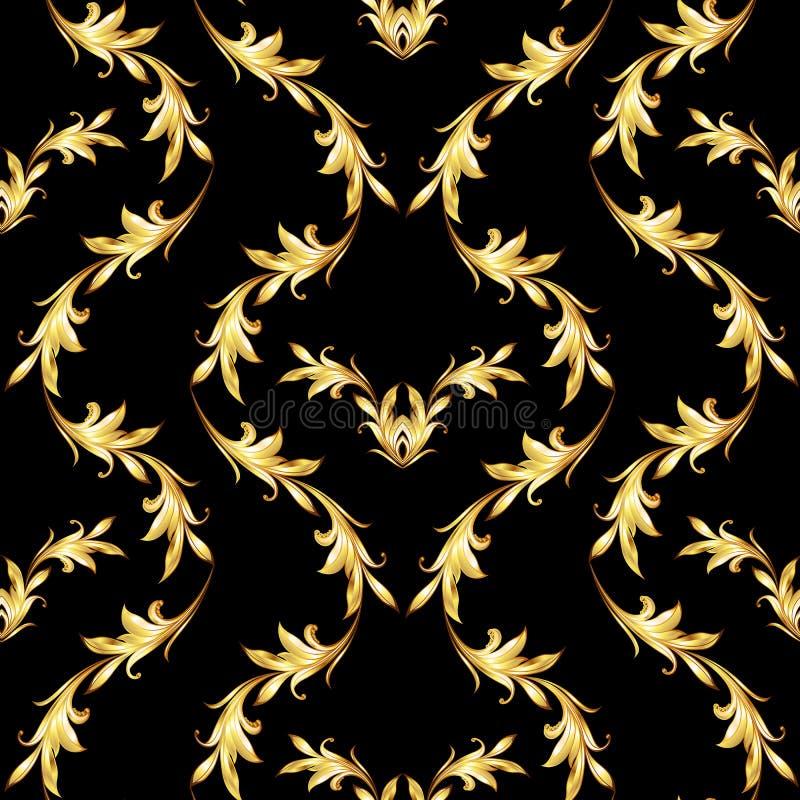 Goldenes Blumenmuster auf Schwarzem vektor abbildung