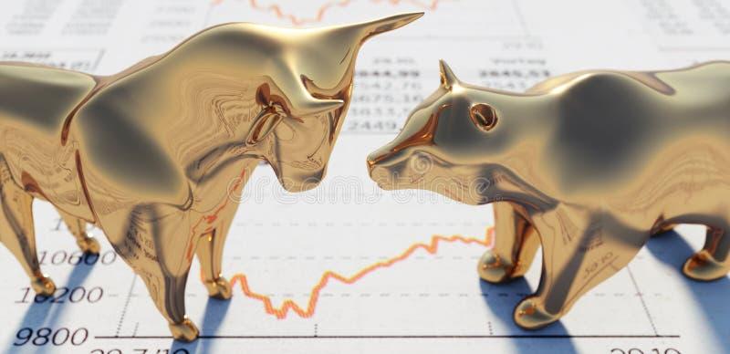 Goldenes Bulle und Bär mit einem Börsediagramm lizenzfreie abbildung