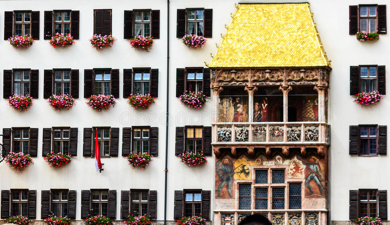 The Goldenes Dachl (Golden Roof) is a landmark in the Old Town of Innsbruck, Austria. The Emperor Maximilian I and his wife used the balcony to observe royalty free stock photo