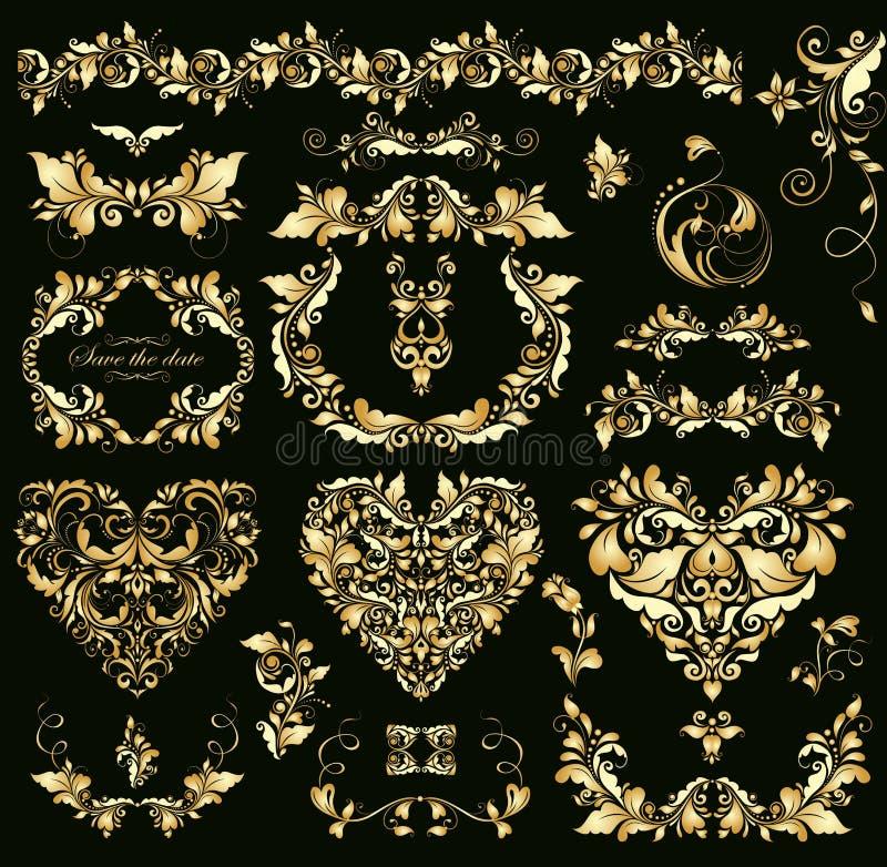 Goldenes Design der Blumenweinlese mit Herzen formt für Heiratseinladungen vektor abbildung