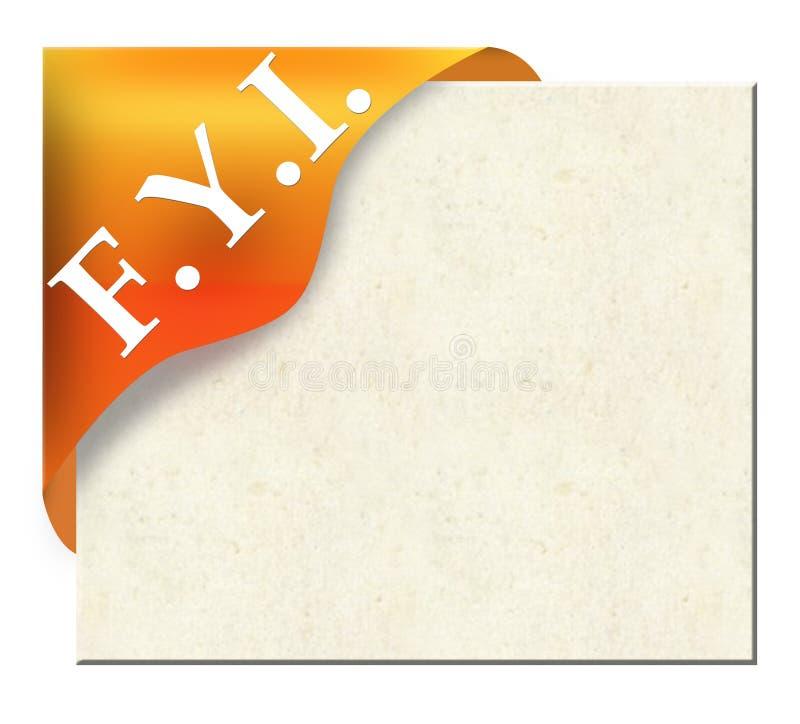 Goldenes Eckfarbband mit FYI für Ihr Protokoll vektor abbildung
