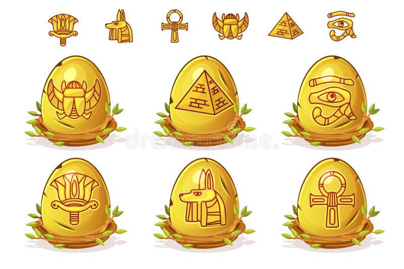 Goldenes Ei mit ägyptischen Symbolen, Ostereier im Vogelnest von Zweigen lizenzfreie abbildung