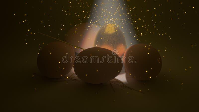 Goldenes Ei mit Scheinen lizenzfreies stockbild