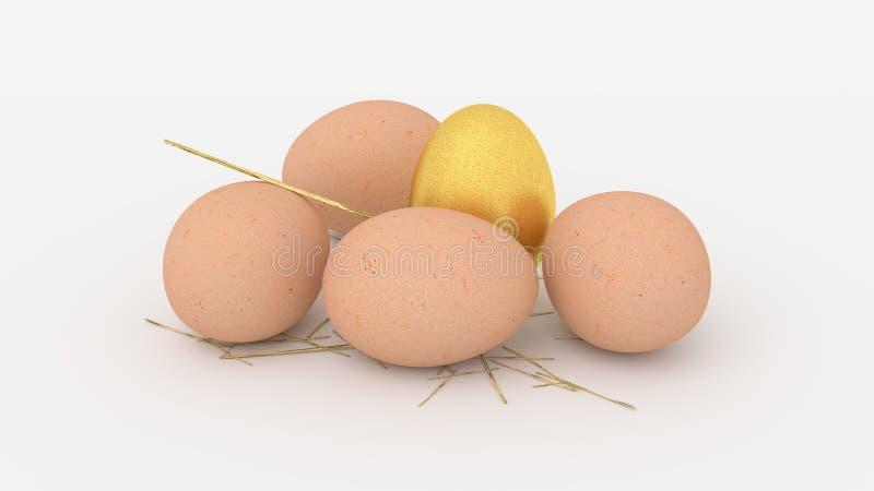 Goldenes Ei unter gewöhnlichen Eiern stockfotos