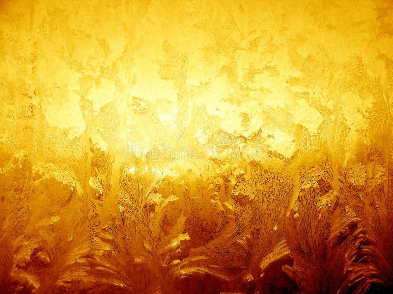 Goldenes eisiges Muster lizenzfreies stockbild