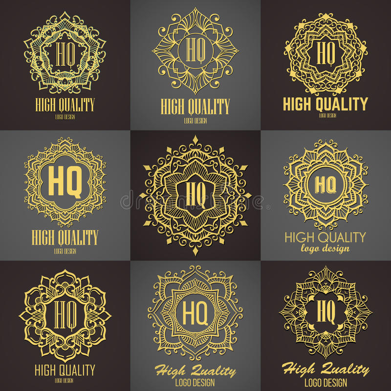 Goldenes elegantes Monogramm Schablonendesign für Monogramm, Aufkleber, Logo, Emblem lizenzfreies stockbild