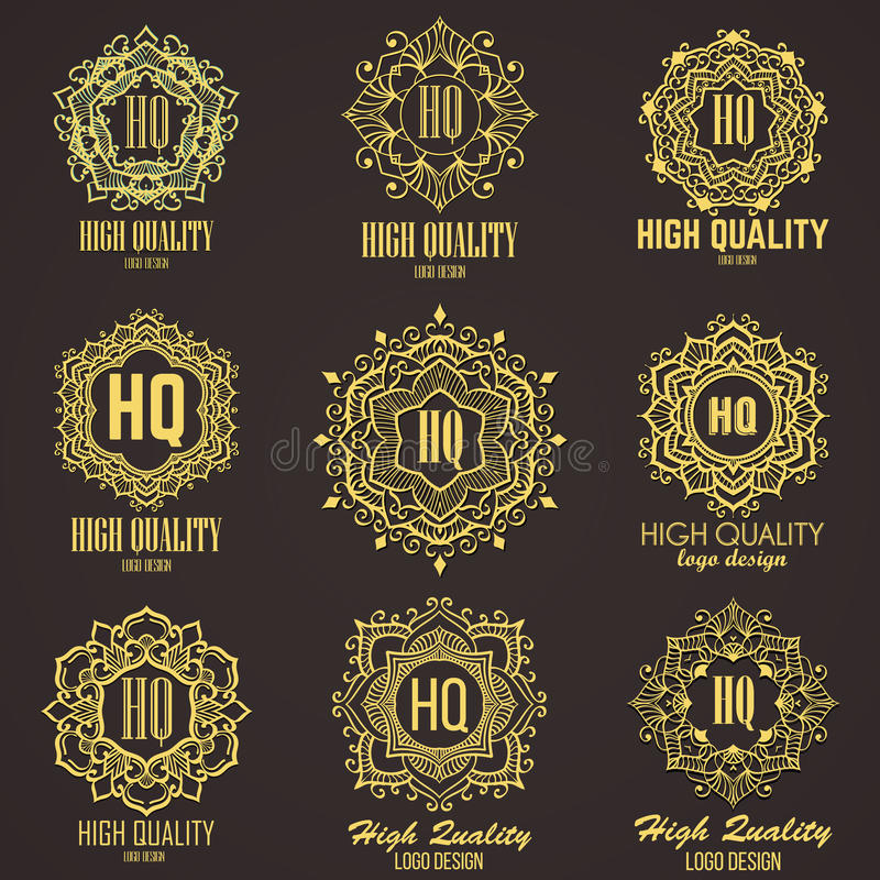Goldenes elegantes Monogramm Schablonendesign für Monogramm, Aufkleber, Logo, Emblem lizenzfreie stockfotografie