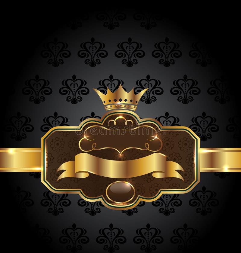 Goldenes Emblem der Weinlese auf schwarzem Blumenhintergrund vektor abbildung