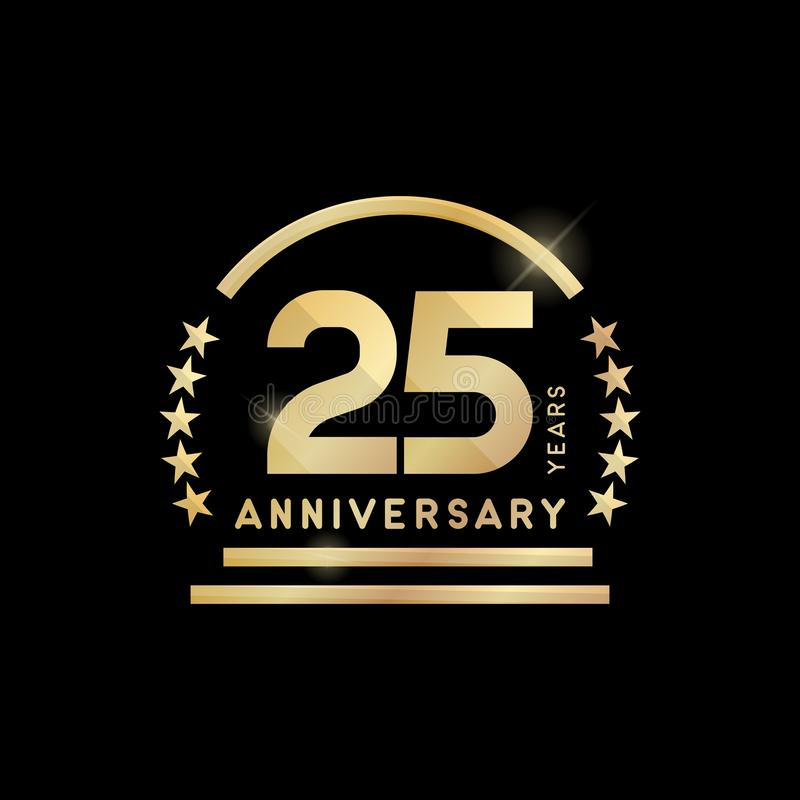 goldenes Emblem des 25. Jahrjahrestages ?bersetzt Ikone stock abbildung