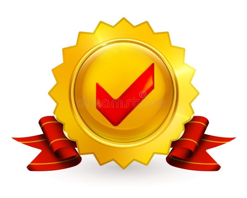 Goldenes Emblem mit Checkmarkierung lizenzfreie abbildung