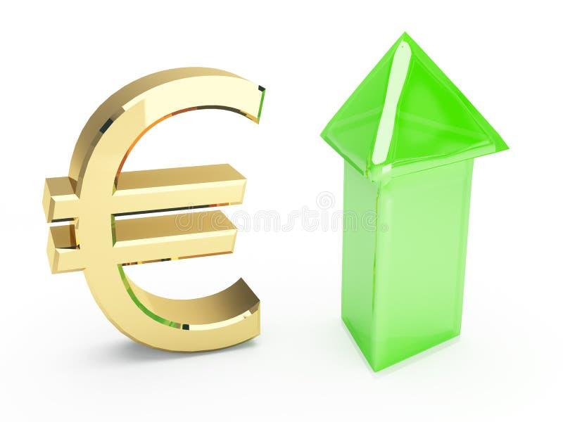 Goldenes Eurosymbol und hohe Pfeile stock abbildung
