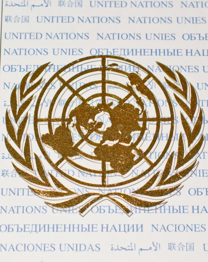 Goldenes Farbenzeichen der Nationen-Organisation lizenzfreie stockfotografie