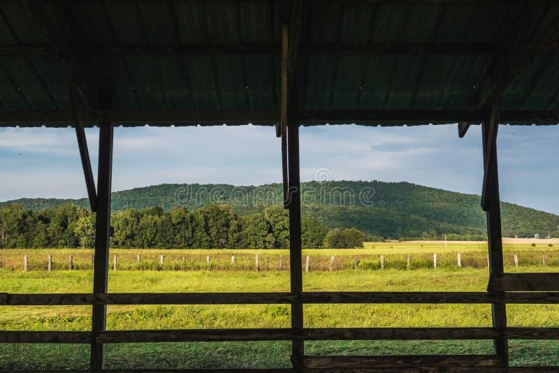 Goldenes Feld und Berge gestaltet durch Scheunen-Beiträge und Zaun lizenzfreie stockbilder
