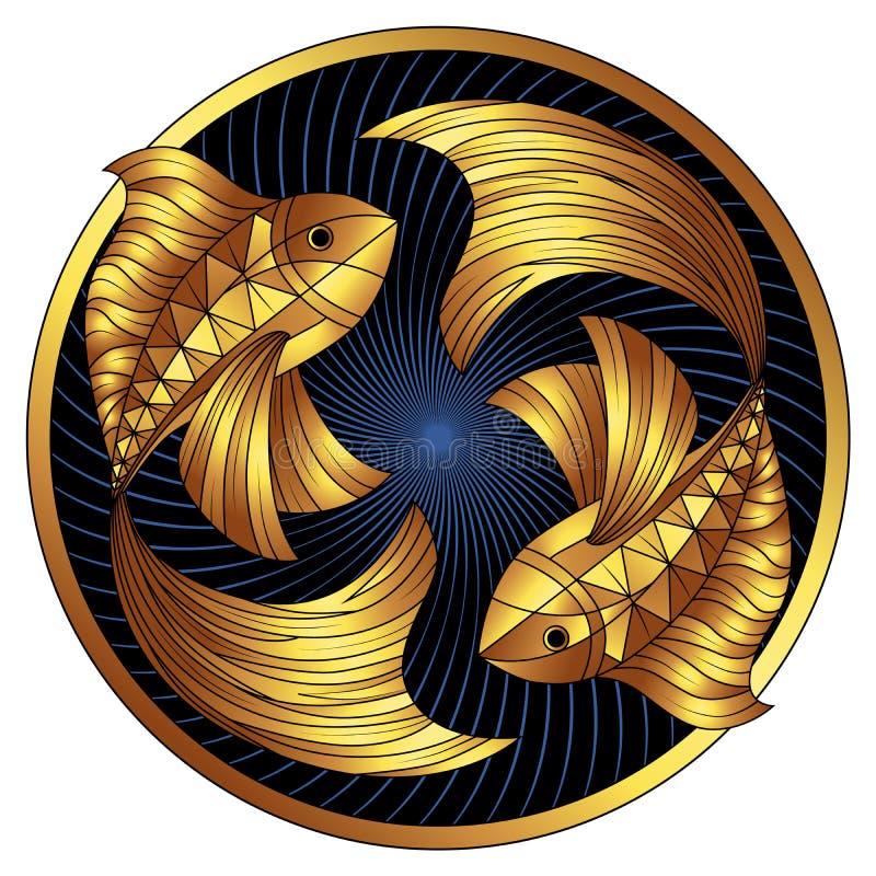 Goldenes Fisch-Sternzeichen, Vektorhoroskopsymbol lizenzfreie stockbilder