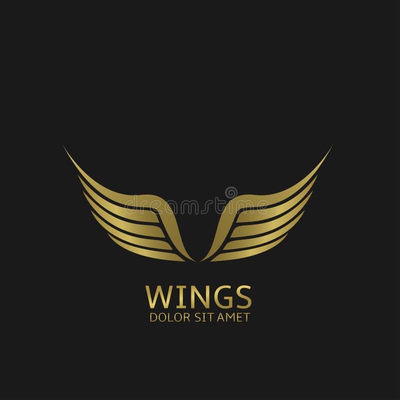 Goldenes Flügelemblem stock abbildung