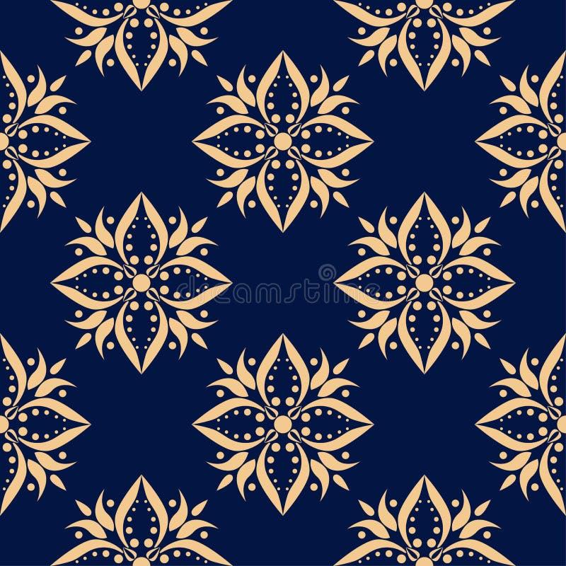 Goldenes Florenelement auf dunkelblauem Hintergrund Nahtloses Muster vektor abbildung