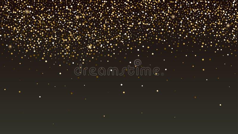 Goldenes Funkeln, das abfällt Glänzende Scheinbeschaffenheit Schablone für Karten des neuen Jahres und des Weihnachten Moderner V stock abbildung