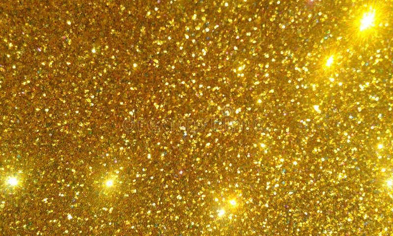 Goldenes Funkeln maserte Hintergrund, helles schönes glänzendes goldenes Funkeln lizenzfreie abbildung