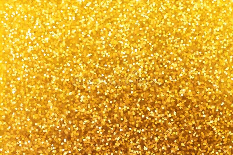 Goldenes Funkelnweihnachten und Hintergrund des neuen Jahres Beschaffenheit für De lizenzfreie stockfotos