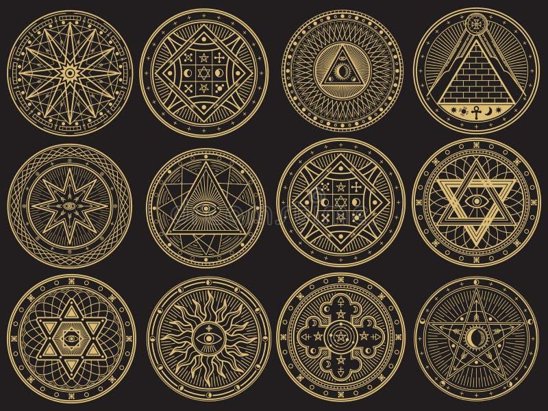 Goldenes Geheimnis, Hexerei, geheimnisvoll, Alchimie, mystische geheime Symbole lizenzfreie abbildung