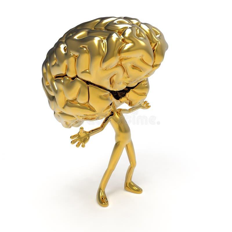 Goldenes Gehirn lizenzfreie stockfotografie