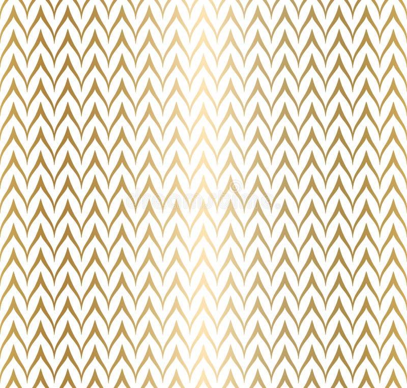 Goldenes geometrisches Muster des modischen einfachen nahtlosen Zickzacks auf wei?em Hintergrund, Vektorillustration Packpapierzi vektor abbildung