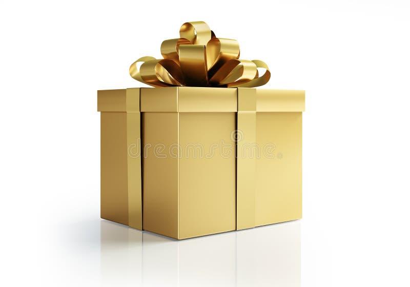 Goldenes Geschenk mit goldenem Bogen vektor abbildung