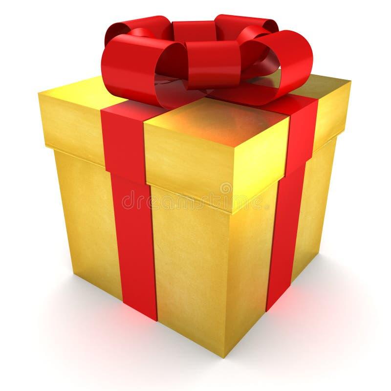 Goldenes Geschenk wickelte Geschenk mit rotem Satinfarbband ein lizenzfreie abbildung