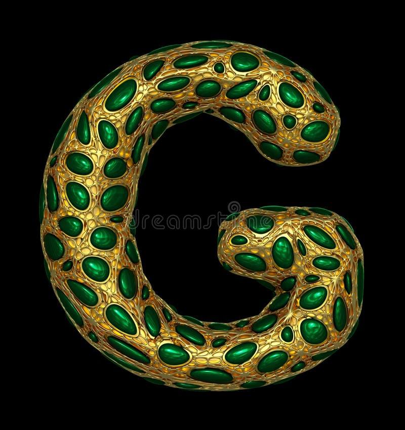 Goldenes glänzendes metallisches 3D mit Großbuchstaben G - Versalien des Symbols des grünen Glases lokalisiert auf Schwarzem vektor abbildung