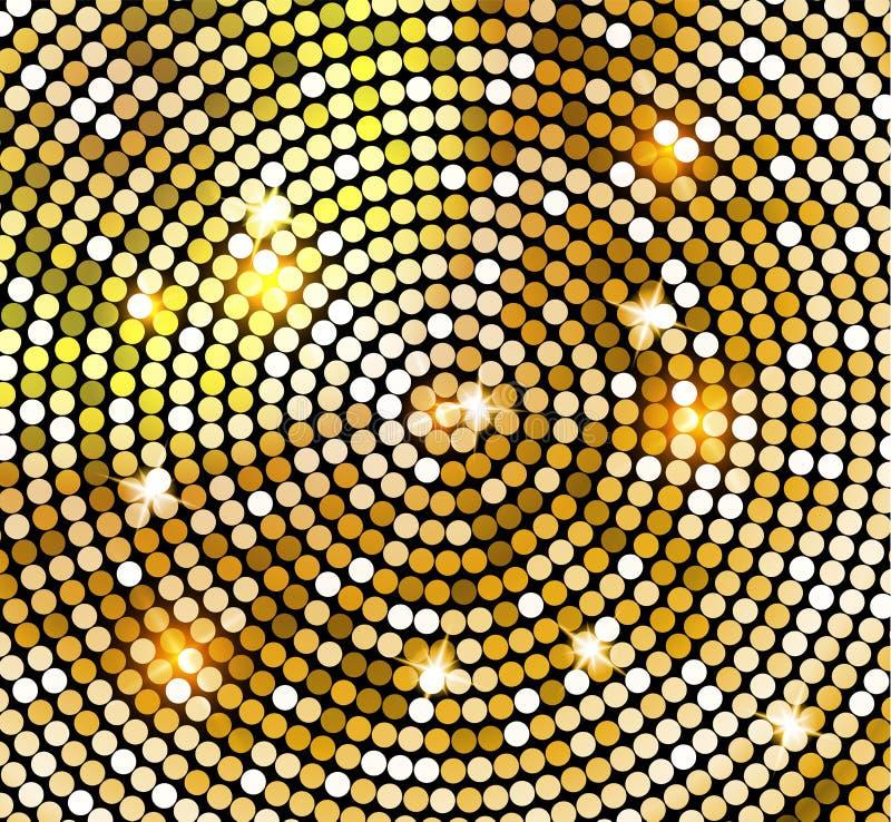 Goldenes glänzendes Mosaik in der Discoballart Vektor-Golddisco beleuchtet Hintergrund entziehen Sie Hintergrund lizenzfreie abbildung