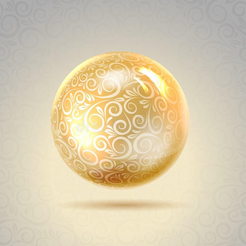 Goldenes glänzendes Perl vektor abbildung