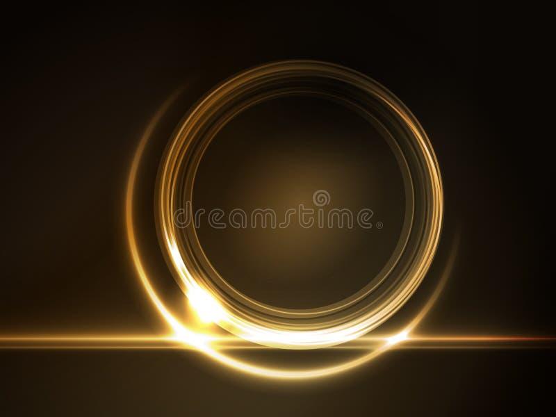 Goldenes glühendes rundes Feld für Ihren Text lizenzfreie abbildung