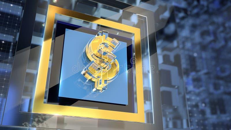Goldenes Glasdollarzeichen mit Brüchen und dem Glühen umrandet auf High-Techem dunklem Hintergrund Finanzabdeckung Schablone hoch lizenzfreie abbildung