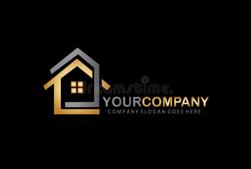 Goldenes Haus Logo Design Concept Steuern Sie Ikone automatisch an stock abbildung