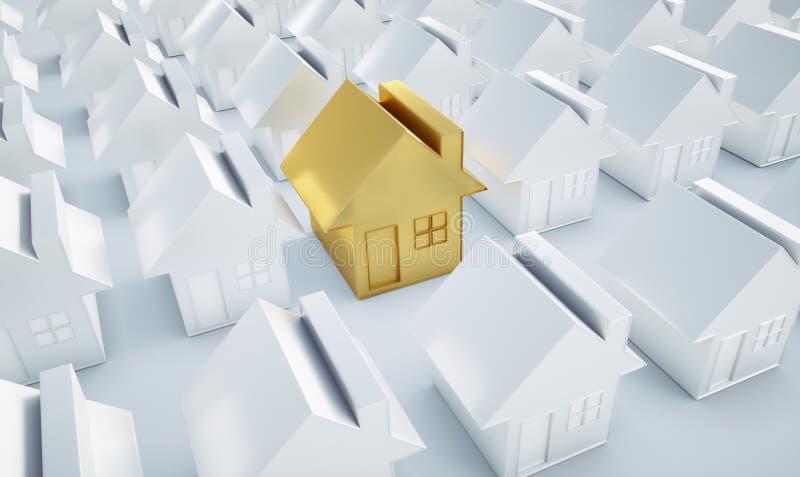 Goldenes Haus zwischen weißen Häusern vektor abbildung