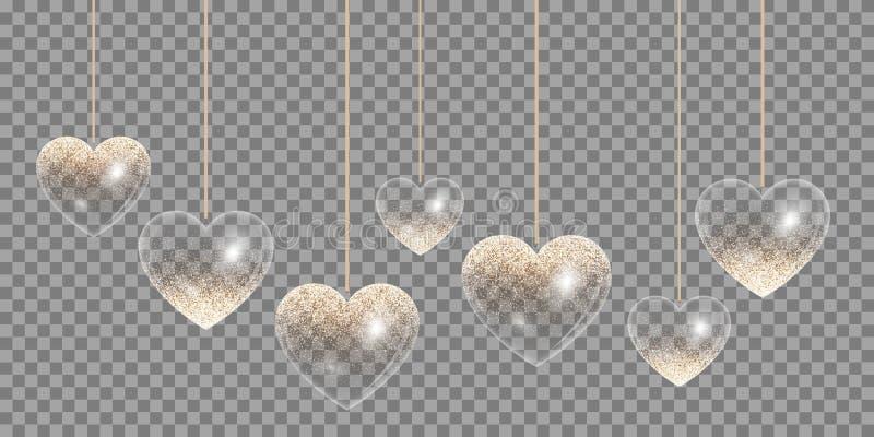 Goldenes Herz auf einem transparenten Hintergrund lizenzfreie abbildung