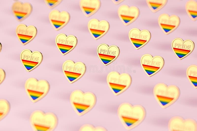 Goldenes Herz mit Regenbogen und Wort STOLZ nach innen Monat des Stolzkonzeptes auf rosa Pastellhintergrund Wiedergabe 3d stock abbildung