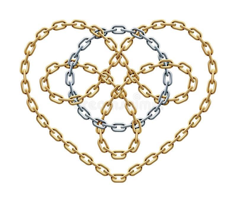Goldenes Herzsymbol mit dem silbernen Kreis innen gemacht von den Ketten Zyklusliebeszeichen Auch im corel abgehobenen Betrag vektor abbildung