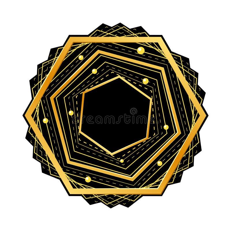 Goldenes Hexagon auf schwarzem Hintergrund Auch im corel abgehobenen Betrag stock abbildung