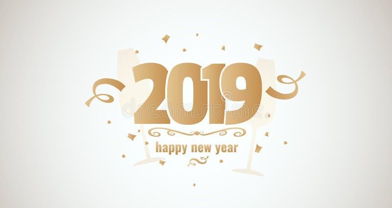 Goldenes illustartion Vektor des guten Rutsch ins Neue Jahr 2019 stock abbildung