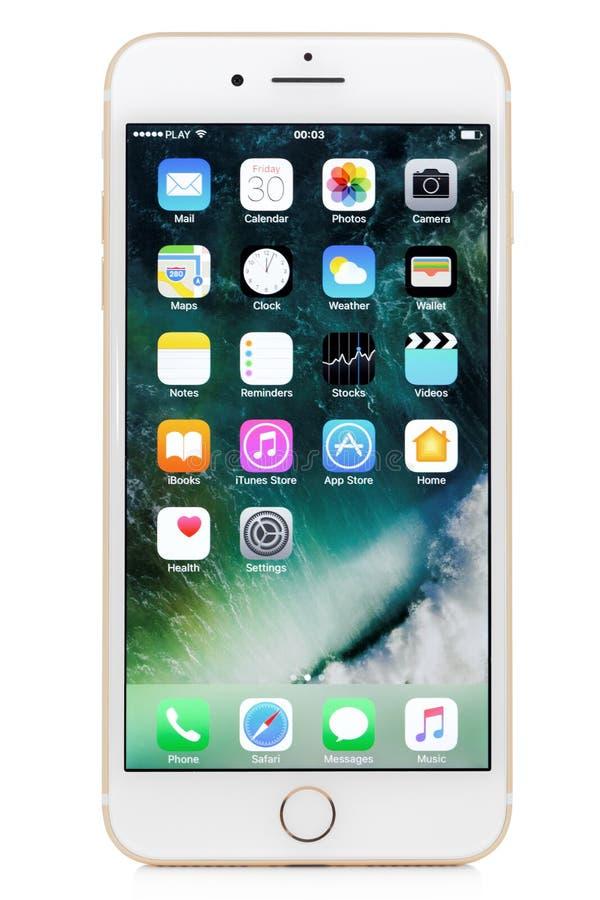 Goldenes iPhone 7 Plus lizenzfreie stockfotos